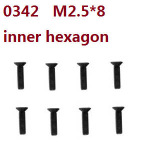 Wltoys 10428-C2 RC Car spare parts flat head inner hexagon screws M2.5*8 0342 8pcs