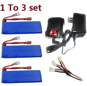 Wltoys 10428-C RC Car spare parts 1 to 3 charger set + 3*7.4V 2200mAh battery set