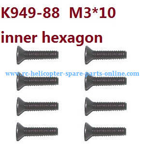 Wltoys 10428-C RC Car spare parts flat head inner hexagon allen screws M3*10 K949-88 8pcs