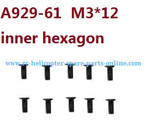 Wltoys 10428-C RC Car spare parts inner hexagon countersunk head screws M3*12 A929-61 10pcs