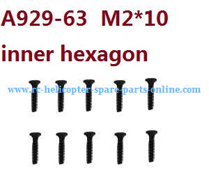 Wltoys 10428-C RC Car spare parts inner hexagon countersunk head screws M2*10 A929-63 10pcs