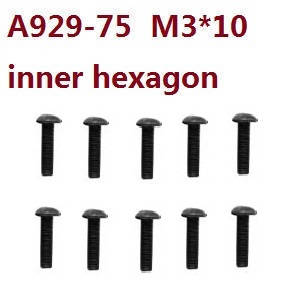 Wltoys 10428-C RC Car spare parts inner hexagon head eyelet with rith referral automatic screws M3*10 A929-75 10pcs