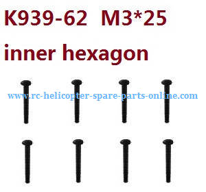 Wltoys 10428-C RC Car spare parts inner hexagon pan head hex socket screws M3*25 K939-62 8pcs