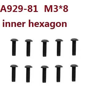 Wltoys 10428-C RC Car spare parts inner hexagon pan head hex socket screws M3*8 A929-81 8pcs