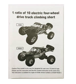 Wltoys 10428-C RC Car spare parts English manual book