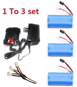 Wltoys 104310 RC Car spare parts 1 to 3 charger set + 3*7.4V 1500mAh battery set