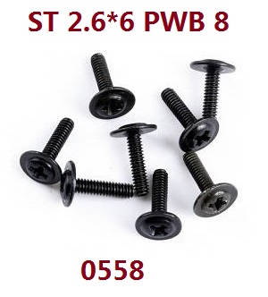 Wltoys 12409 RC Car spare parts screws 2.6*6 PWB 0558