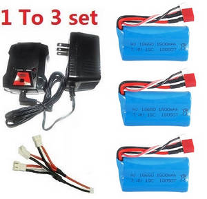 Wltoys 12409 RC Car spare parts 1 to 3 charger set + 3*7.4V 1500mAh battery set