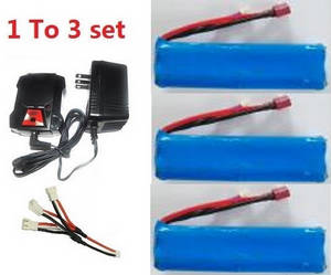 Wltoys 12628 RC Car spare parts 1 to 3 charger set + 3*7.4V 3000mAh battery set