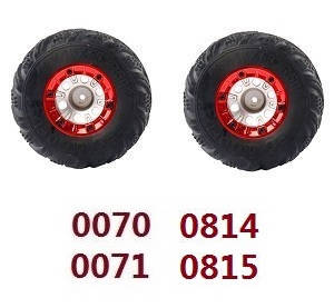Wltoys 12628 RC Car spare parts tires 2pcs Red (0070 0071 0814 0815)