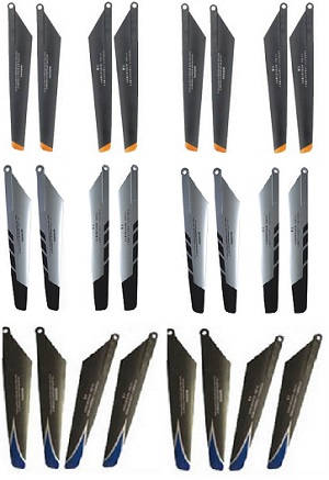 Double Horse 9101 DH 9101 RC helicopter spare parts main blades 6 sets (Upgrade Black-Orange + Silver-Black + Black-Blue)