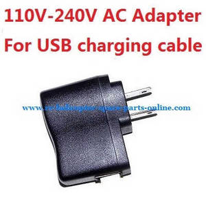 Wltoys XK A120 RC Airplanes Helicopter spare parts 110V-240V AC Adapter for USB charging cable