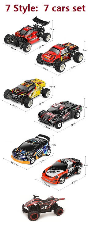 Wltoys A202 A212 A222 A232 A242 A252 A262 RC Car set, 7 styles total 7 cars package set.
