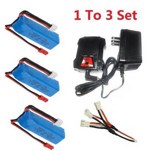 Wltoys A262 RC Car spare parts 1 to 3 charger and charger box set + 3*battery 7.4V 500mAh set