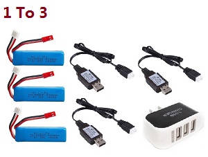 Wltoys A262 RC Car spare parts 1 to 3 charger adapter and 3*USB charger wire + 3*battery 7.4V 500mAh set
