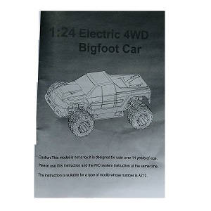 Wltoys A262 RC Car spare parts English manual book