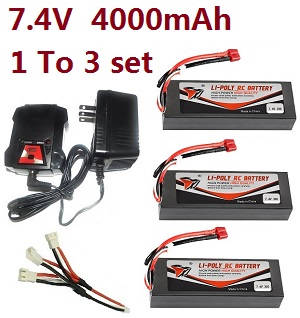 Wltoys A929 RC Car spare parts 1 to 3 charger set + 3*7.4V 4000mAh battery set