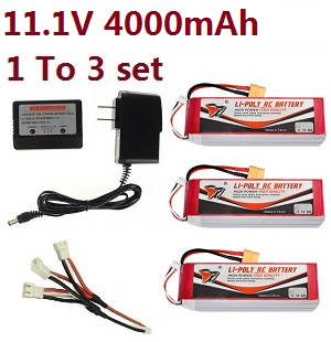Wltoys A929 RC Car spare parts 1 to 3 charger set + 3*11.1V 4000mAh battery set