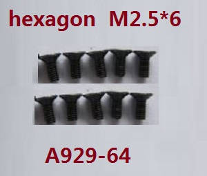 Wltoys A929 RC Car spare parts inner hexagon countersunk screws 10pcs M2.5*6 A929-64