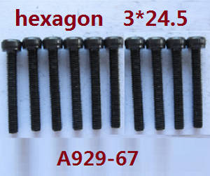 Wltoys A929 RC Car spare parts inner hexagon round cup head screws 10pcs M3*24.5 A929-67