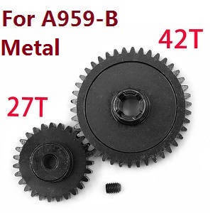 Wltoys A959 A959-A A959-B RC Car spare parts Reduction gear + driving gear (Alloy Silver)