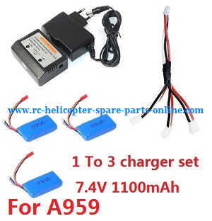 Wltoys A959 A959-A A959-B RC Car spare parts 1 to 3 charger set For A959