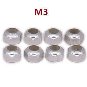 Wltoys A959 A959-A A959-B RC Car spare parts M3 locknut (Silver 8pcs)
