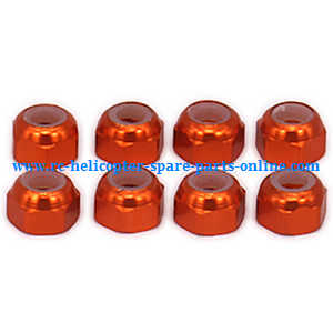 Wltoys A959 A959-A A959-B RC Car spare parts M3 locknut (Orange 8pcs)