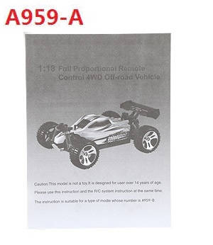 Wltoys A959 A959-A A959-B RC Car spare parts English manual book for A959-A