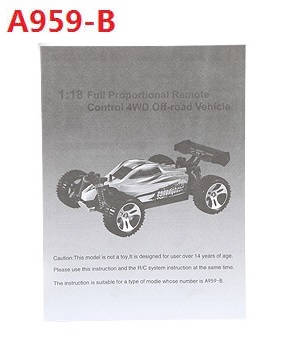 Wltoys A959 A959-A A959-B RC Car spare parts English manual book for A959-B