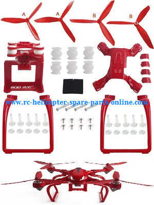 MJX Bugs 2 B2C B2W RC quadcopter spare parts upgrade set (3-leaf blades + undercarriage + camera plateform)[Red]