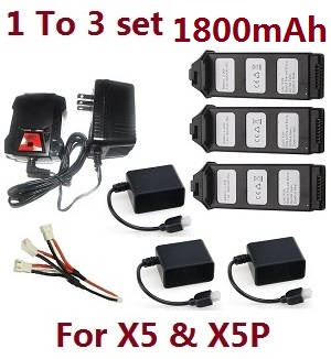 JJRC JJPRO X5 X5P RC Drone Quadcopter spare parts 3*battery 7.4V 1800mAh + 3*charger case + 1 to 3 charger wire set