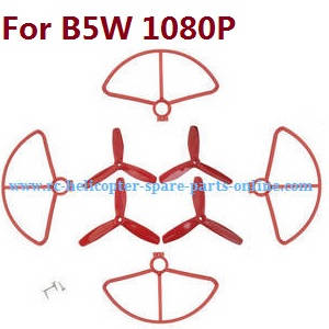MJX Bugs 5W B5W RC Quadcopter spare parts protection frame + 3-leaf main blades (Red)