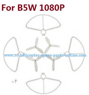 MJX Bugs 5W B5W RC Quadcopter spare parts protection frame + 3-leaf main blades (White)