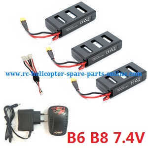 MJX Bugs 6, Bugs 8, B6 B8 RC Quadcopter spare parts 1 to 3 charger set + 3*battery set