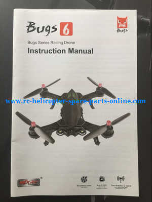 MJX Bugs 6, Bugs 8, B6 B8 RC Quadcopter spare parts English manual book