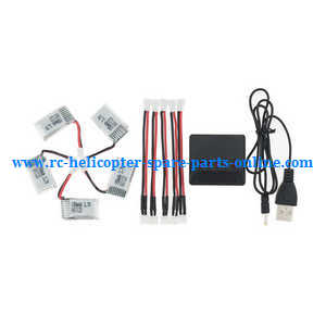 Eachine E010S E010C quadcopter spare parts 1 to 5 connect wire plug + charger box + 5* battery 3.7V 150mAh set