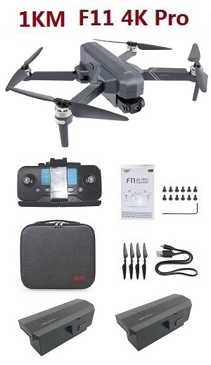 SJRC F11 4K Pro RC Drone with portable bag and 3 battey RTF