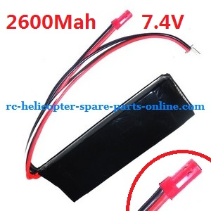 MJX F45 F645 helicopter spare parts battery 7.4v 2600mAh red JST plug