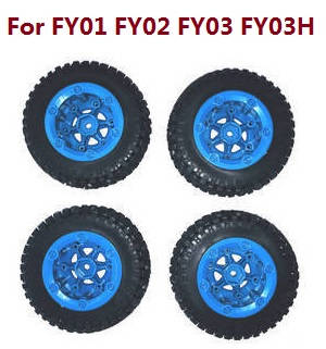 Feiyue FY01 FY02 FY03 FY03H FY04 FY05 RC truck car spare parts tires 4pcs (Blue) For FY01 FY02 FY03 FY03H