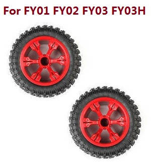 Feiyue FY01 FY02 FY03 FY03H FY04 FY05 RC truck car spare parts tires 2pcs (Red) For FY01 FY02 FY03 FY03H