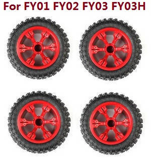 Feiyue FY01 FY02 FY03 FY03H FY04 FY05 RC truck car spare parts tires 4pcs (Red) For FY01 FY02 FY03 FY03H