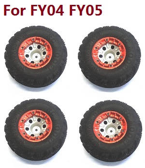Feiyue FY01 FY02 FY03 FY03H FY04 FY05 RC truck car spare parts tires 4pcs (Red) For FY04 FY05