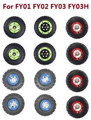 Feiyue FY01 FY02 FY03 FY03H FY04 FY05 RC truck car spare parts tires 12pcs (Green+Blue+Red) For FY01 FY02 FY03 FY03H