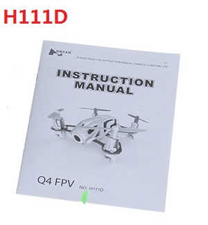 Hubsan H111 H111C H111D RC Quadcopter spare parts English manual book (H111D)