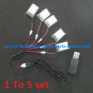 JJRC H20C H20W quadcopter spare parts 1 To charger wire set + 5*3.7V 280mAh battery set