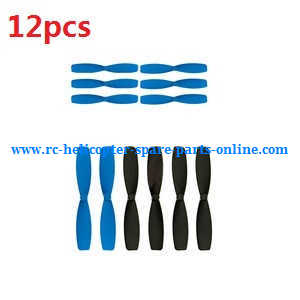 JJRC H21 quadcopter spare parts main blades 12pcs (Blue+Black)