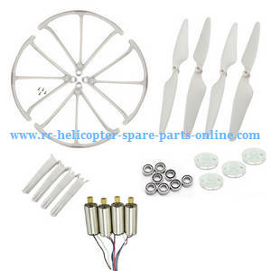 Hubsan H216A RC Quadcopter spare parts main motors + main blades + protection frame + undercarriage + main gears + bearings (White)