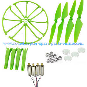 Hubsan H216A RC Quadcopter spare parts main motors + main blades + protection frame + undercarriage + main gears + bearings (Green)