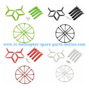 Hubsan H216A RC Quadcopter spare parts 3-leaf main blades + undercarriage + protection frame set (Red+Green+Black+White)